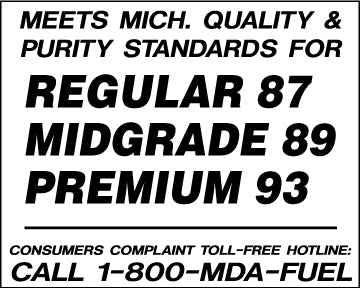 "Decal- ""Meets Mich. Quality...3 Product"""