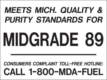 "Meets Michigan...Midgrade 89- Black on White 4""w x 3""h Decal"