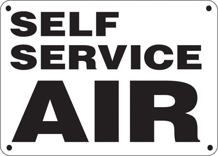 "Self Service Air- 14""w x 10""h Aluminum Sign"