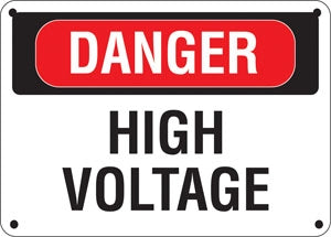 "Aluminum Sign- ""Danger High Voltage"""
