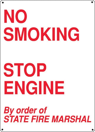 "Aluminum Sign- ""No Smoking Stop Engine"""