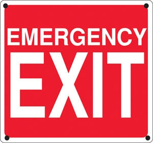 "Emergency Exit- 12""w x 12"" h Aluminum Sign"
