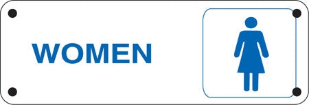 """WOMEN"" (with woman Symbol)- 9""w x 4""h Aluminum Restroom Sign"