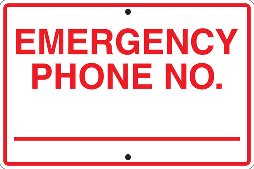 "Emergency Phone Number- 18""w x 12""h Aluminum Sign"