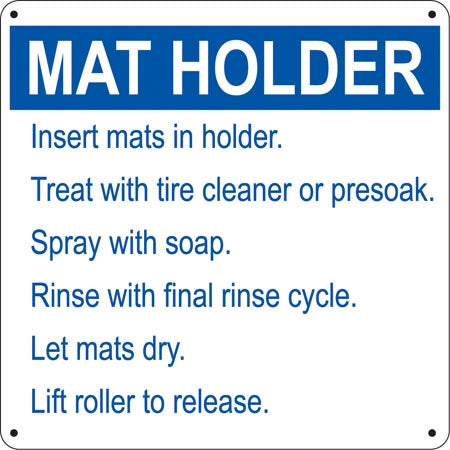 "Aluminum Sign- ""Mat Holder"""