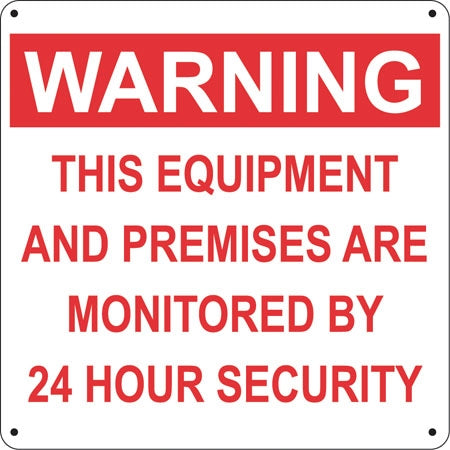 "Warning This Equipment- 12""w x 12""h Aluminum Sign"