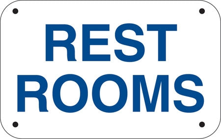 "Restrooms- 12""w x 6""h Aluminum Sign"