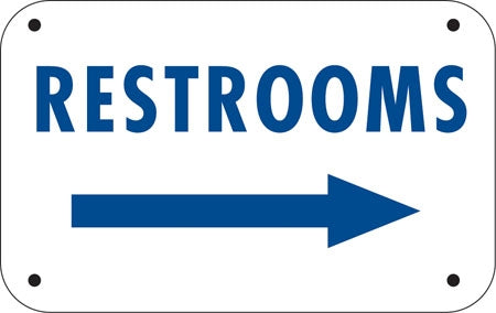 "RESTROOMS (right arrow)- 12""w x 6""h Aluminum Sign"