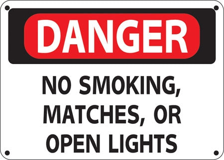 "Aluminum Sign- ""Danger No Smoking, Matches Or Open Lights"""