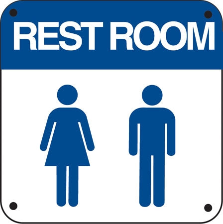 "RESTROOM (with Woman & Man figures)- 6""w x 6""h .040 Aluminum"