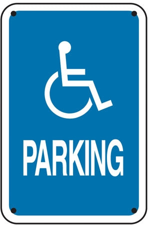 "(handicap logo) PARKING- 12""w x 18""h Aluminum Sign"
