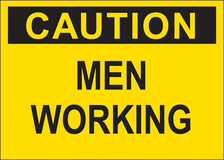 "Decal- ""Caution Men Working"""