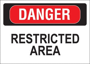 "Decal- ""Danger Restricted Area"""