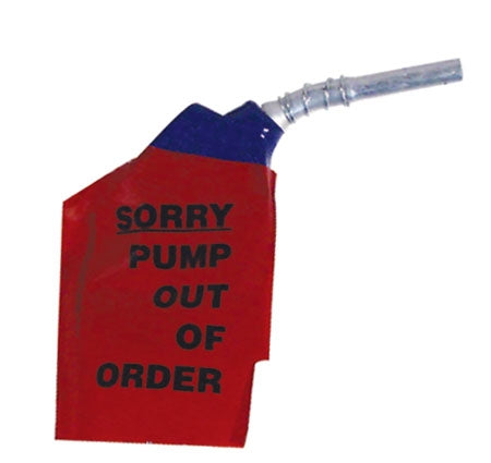 "Plastic Nozzle Sleeve- ""Sorry Pump Out Of Order"""