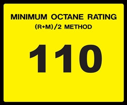 Octane Rating Decal- Standard 110