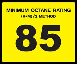 Octane Rating Decal- Standard 85