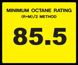 Octane Rating Decal- Standard 85.5