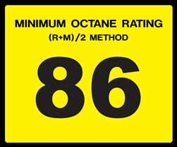 Octane Rating Decal- Standard 86