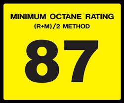Octane Rating Decal- Standard 87