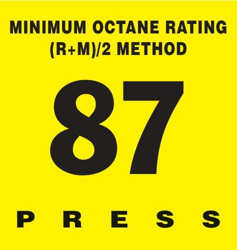 GILBARCO ENCORE 300 Octane Rating Decal 87