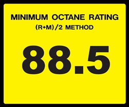 Octane Rating Decal- Standard 88.5