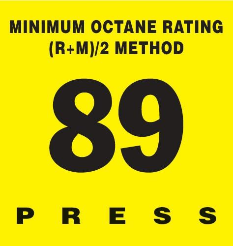 GILBARCO ENCORE 300 Octane Rating Decal 89