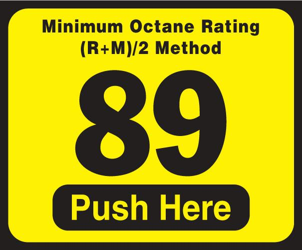 Wayne Vista Octane Rating Decal 89