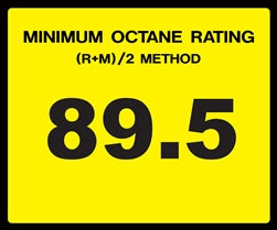 Octane Rating Decal- Standard 89.5