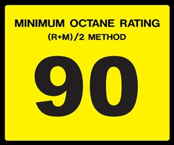 Octane Rating Decal- Standard 90