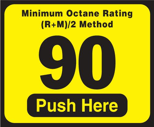 Wayne Vista Octane Rating Decal 90