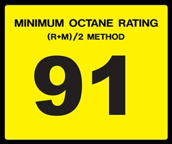 Octane Rating Decal- Standard 91