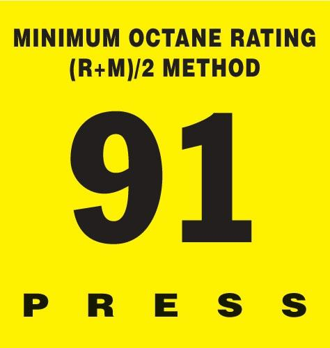GILBARCO ENCORE 300 Octane Rating Decal 91
