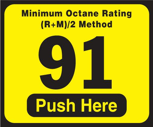 Wayne Vista Octane Rating Decal 91