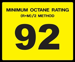 Octane Rating Decal- Standard 92
