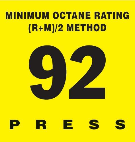 GILBARCO ENCORE 300 Octane Rating Decal 92
