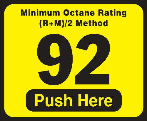 Wayne Vista Octane Rating Decal 92