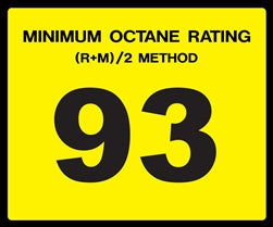 Octane Rating Decal- Standard 93