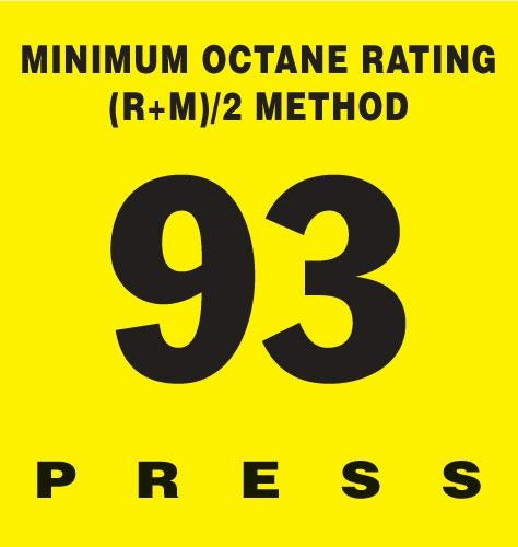 GILBARCO ENCORE 300 Octane Rating Decal 93