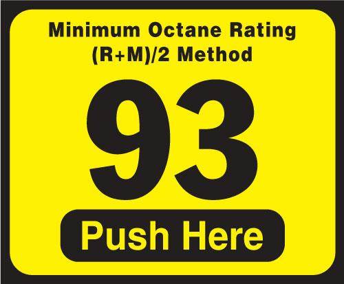 Wayne Vista Octane Rating Decal 93