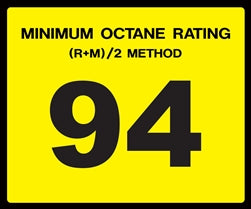 Octane Rating Decal- Standard 94