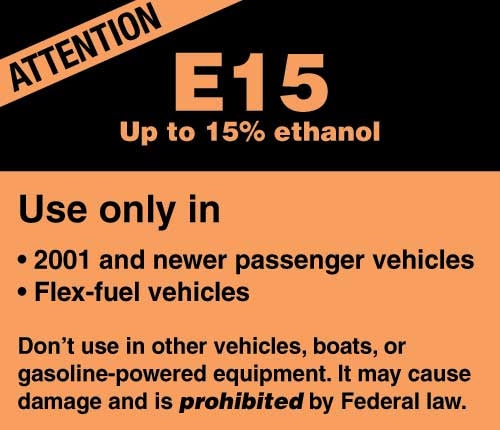 "Decal- ""E15 Up to 15% Ethanol"""