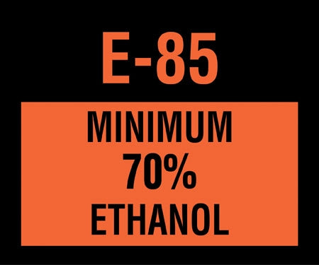 "Decal- ""E85 Minimum 70% Ethanol"""