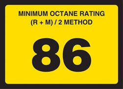 Gilbarco Advantage Octane Rating Decal 86