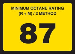 Gilbarco Advantage Octane Rating Decal 87