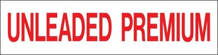 "Pump Decal- Red on White, ""Premium Unleaded"""