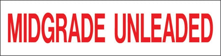 "Pump Decal- Red on White, ""Midgrade Unleaded"""