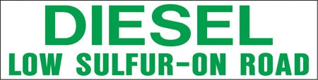 "Pump Decal- Green on White, ""Diesel Low-Sulfur On Road"""