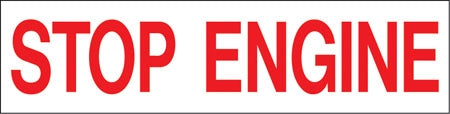 "Pump Decal- Red on White, ""Stop Engine"""