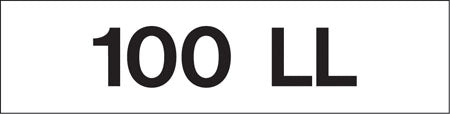 "Pump Decal- Black on White, ""100 LL"""