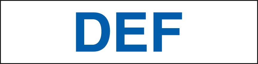 "Pump Decal- Blue on White, ""DEF"""